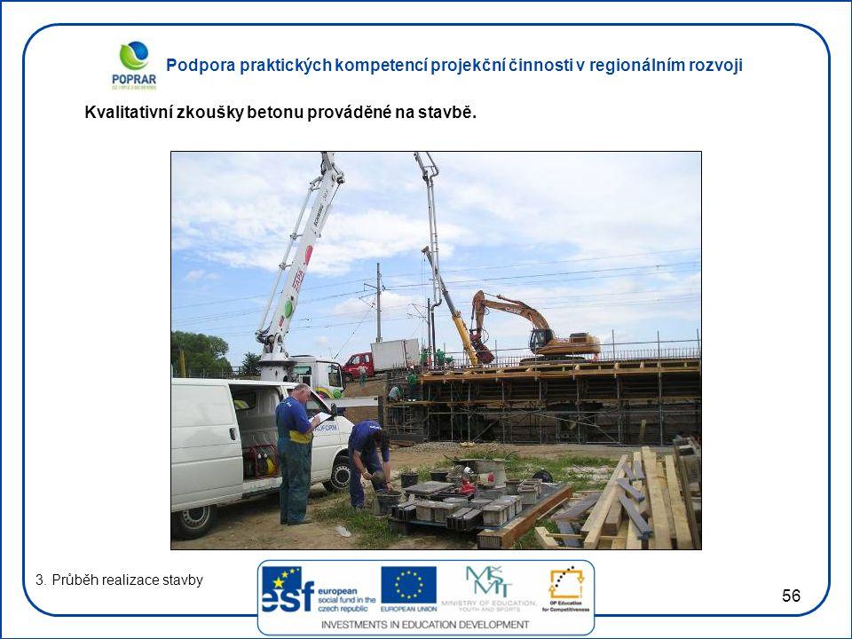 Kvalitativní zkoušky betonu prováděné na stavbě.