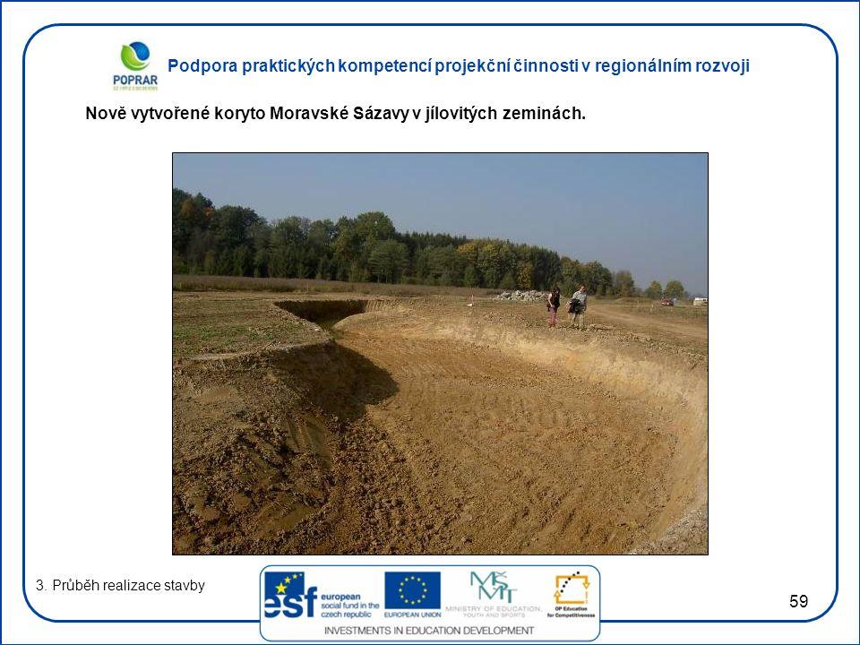 Nově vytvořené koryto Moravské Sázavy v jílovitých zeminách.