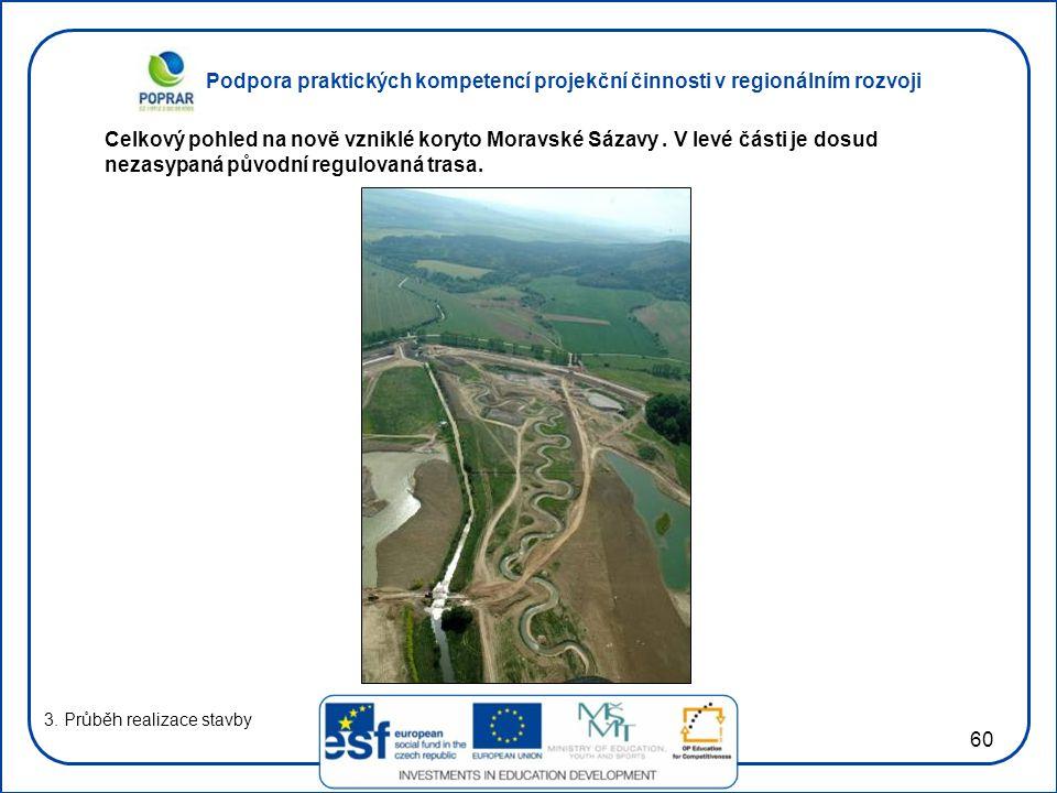 Celkový pohled na nově vzniklé koryto Moravské Sázavy