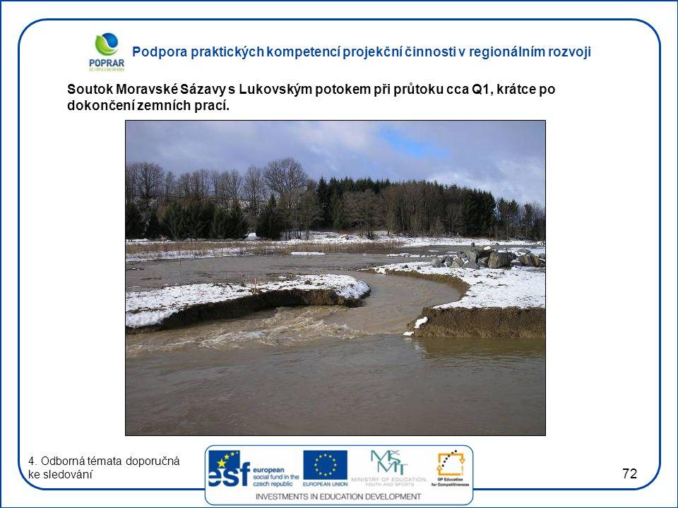 Soutok Moravské Sázavy s Lukovským potokem při průtoku cca Q1, krátce po dokončení zemních prací.