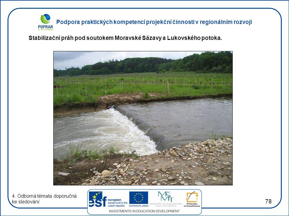 Stabilizační práh pod soutokem Moravské Sázavy a Lukovského potoka.