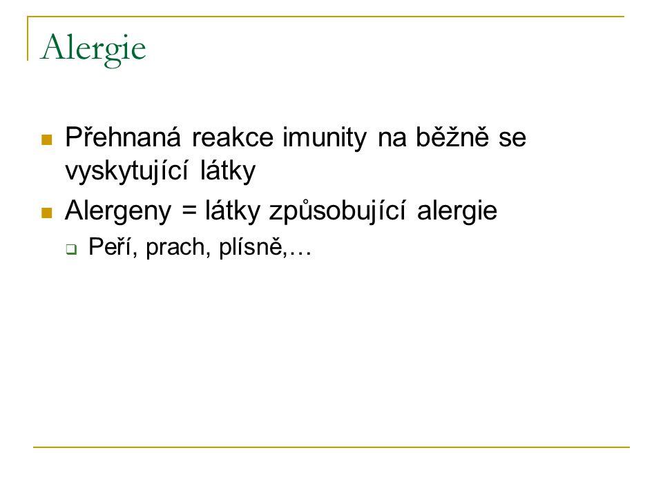 Alergie Přehnaná reakce imunity na běžně se vyskytující látky