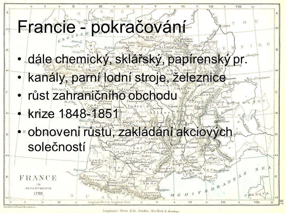 Francie - pokračování dále chemický, sklářský, papírenský pr.