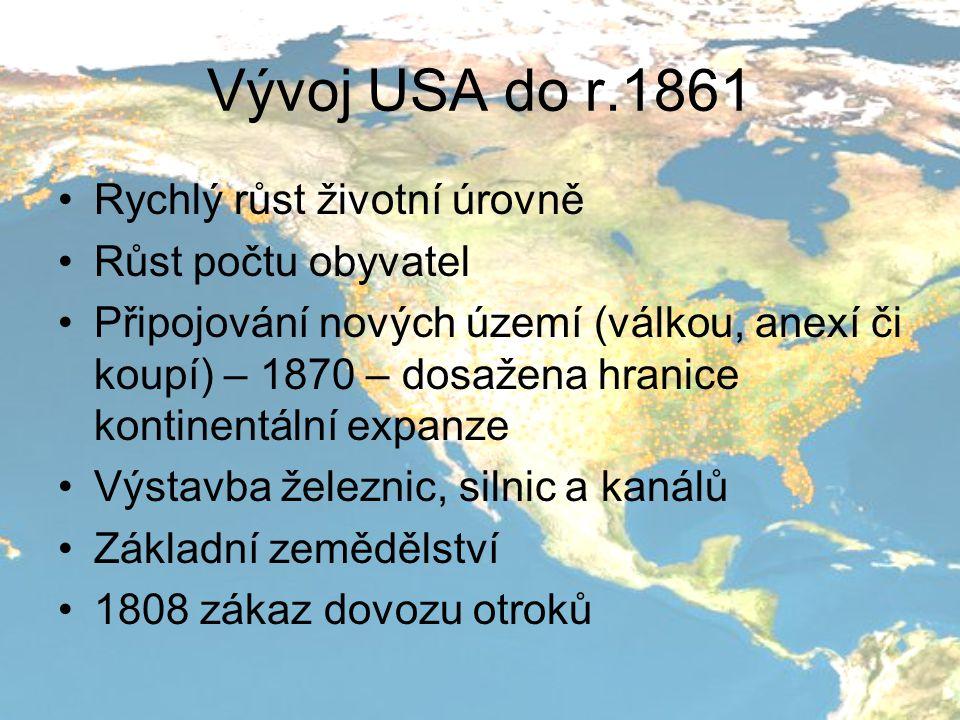 Vývoj USA do r.1861 Rychlý růst životní úrovně Růst počtu obyvatel
