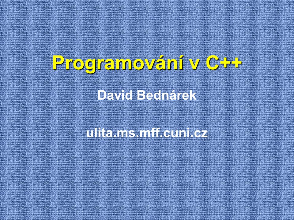 David Bednárek ulita.ms.mff.cuni.cz