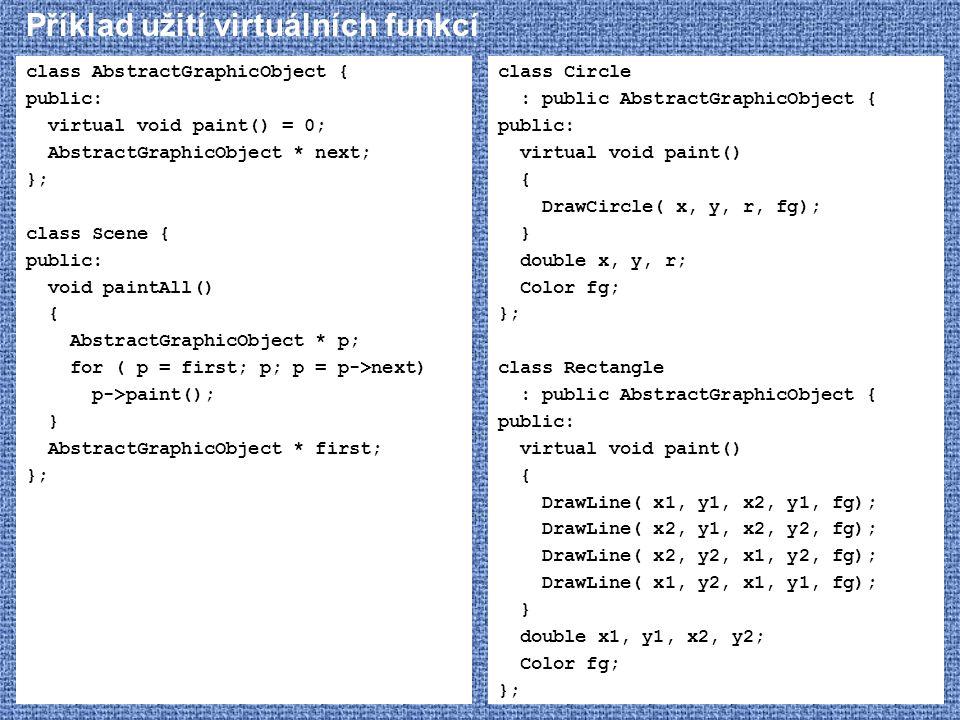 Příklad užití virtuálních funkcí