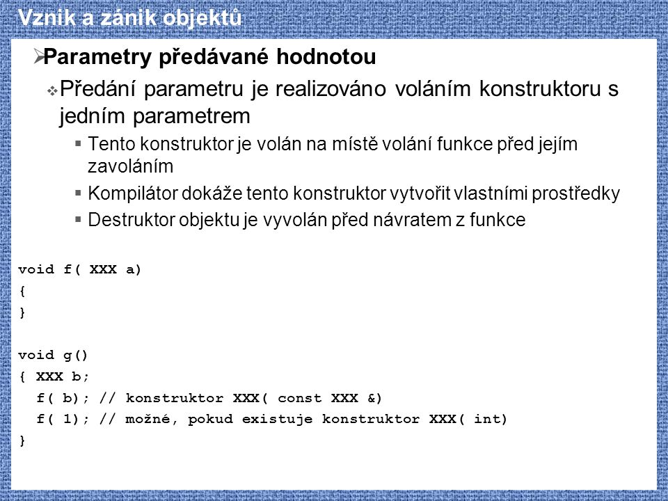 Parametry předávané hodnotou