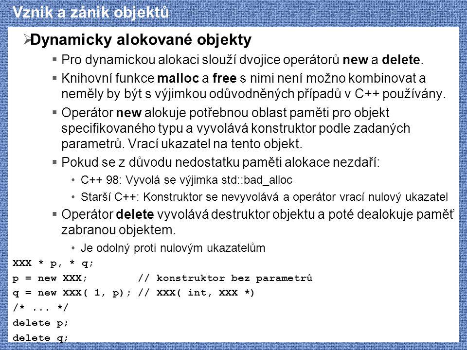 Dynamicky alokované objekty