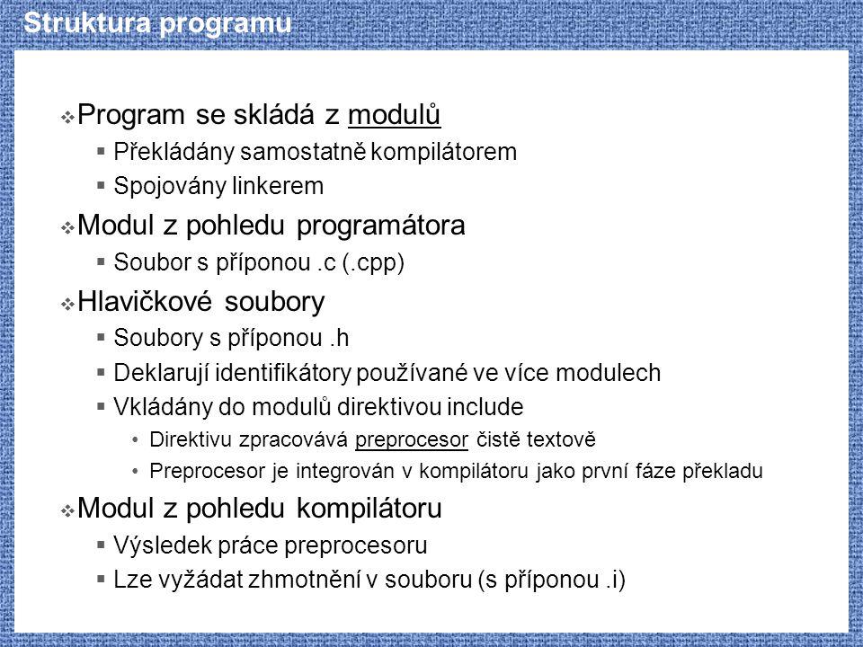 Program se skládá z modulů