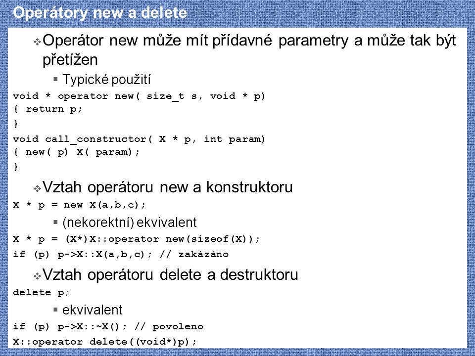 Operátor new může mít přídavné parametry a může tak být přetížen