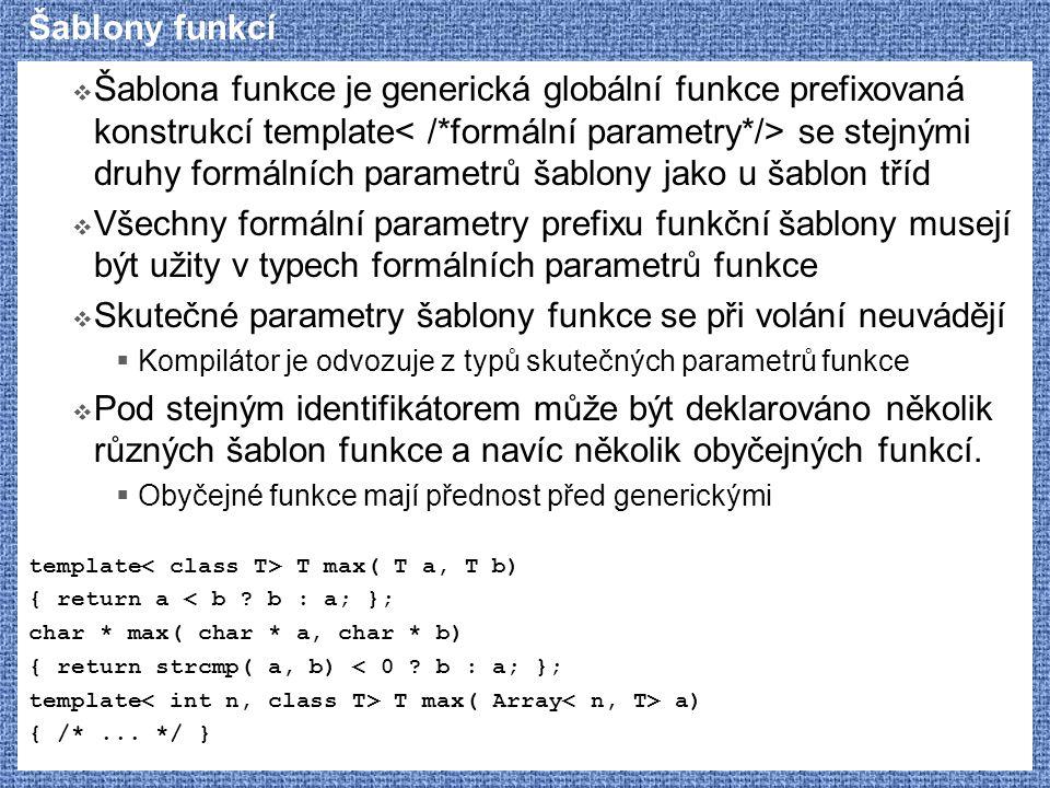 Skutečné parametry šablony funkce se při volání neuvádějí
