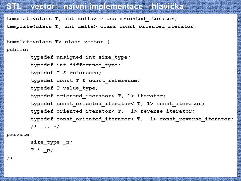 STL – vector – naivní implementace – hlavička