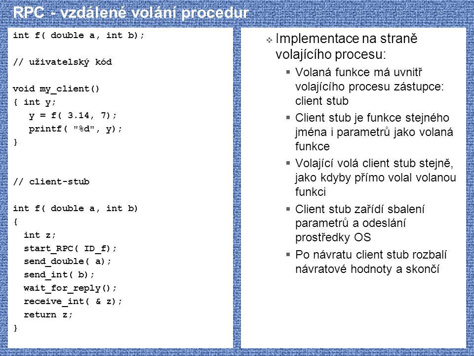 RPC - vzdálené volání procedur