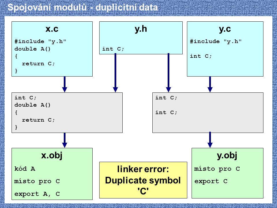 Spojování modulů - duplicitní data