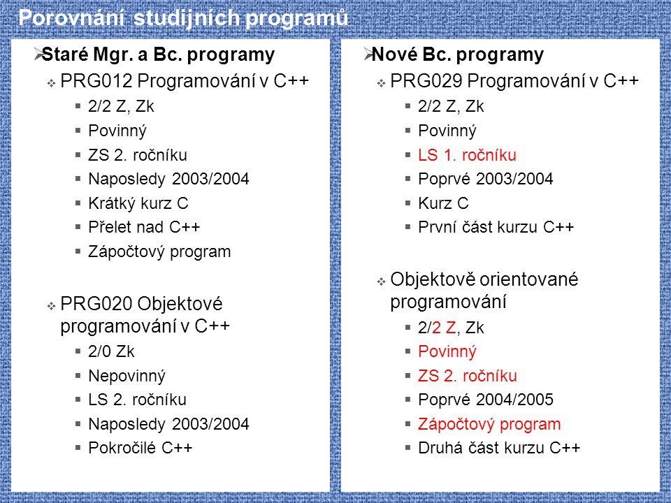 Porovnání studijních programů