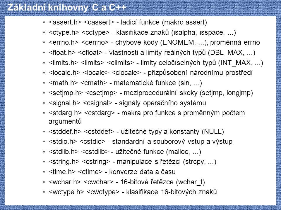 Základní knihovny C a C++