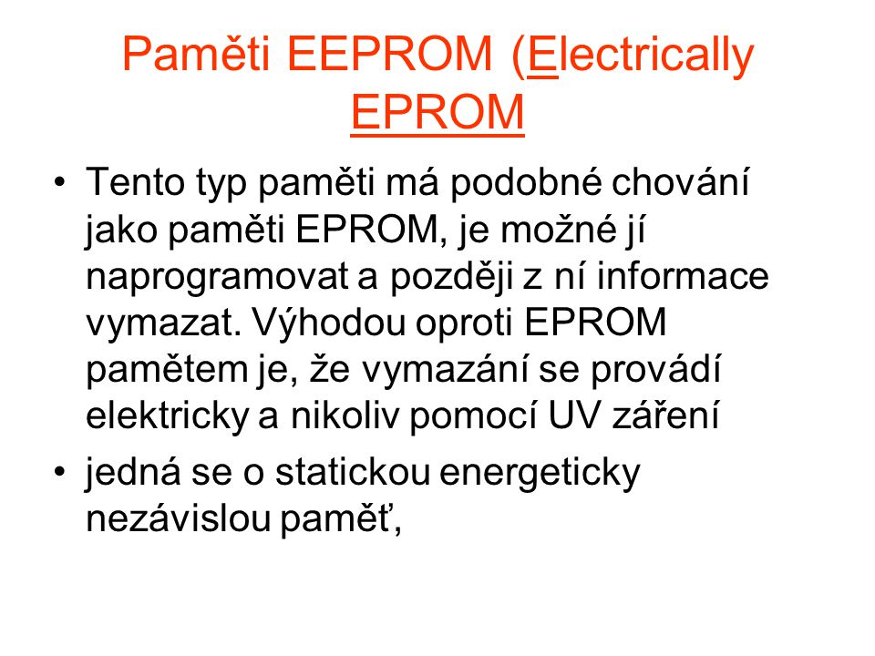 Paměti EEPROM (Electrically EPROM