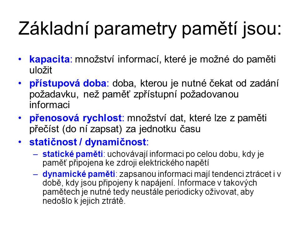 Základní parametry pamětí jsou: