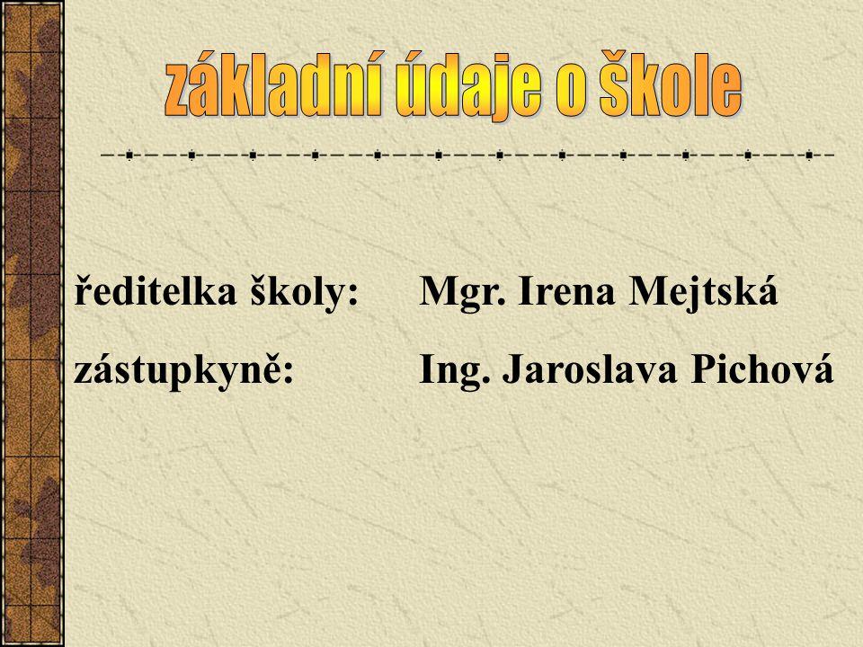 základní údaje o škole ředitelka školy: Mgr. Irena Mejtská zástupkyně: Ing. Jaroslava Pichová