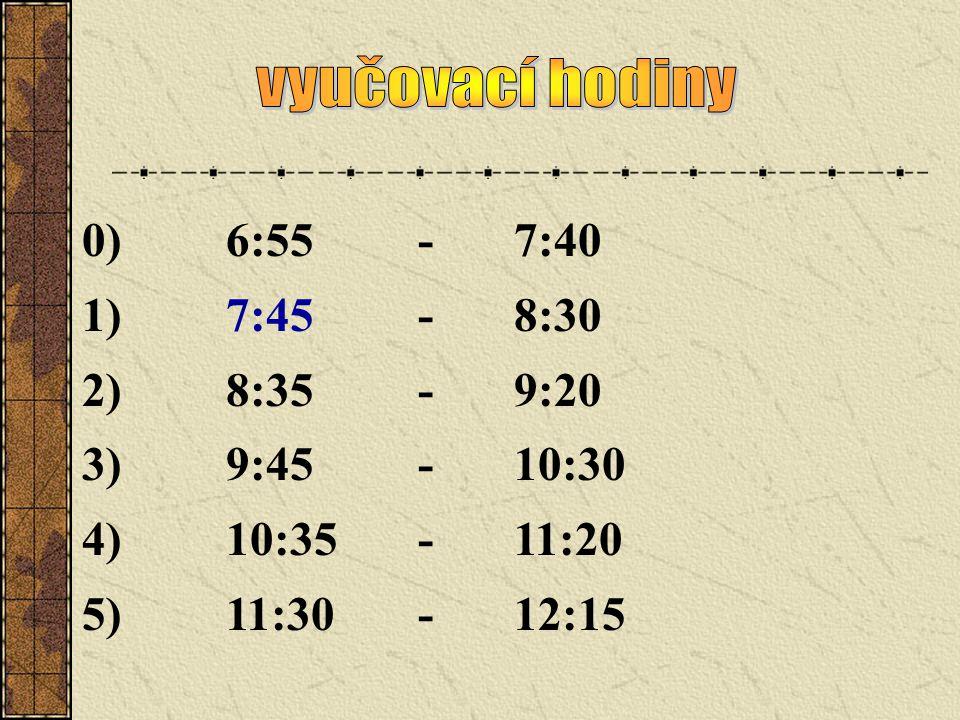 vyučovací hodiny 0) 6:55 - 7:40. 1) 7:45 - 8:30. 2) 8:35 - 9:20. 3) 9:45 - 10:30. 4) 10:35 - 11:20.