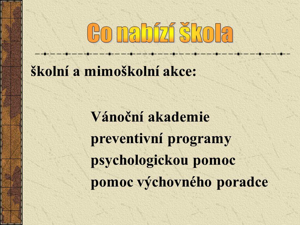Co nabízí škola školní a mimoškolní akce: Vánoční akademie. preventivní programy. psychologickou pomoc.
