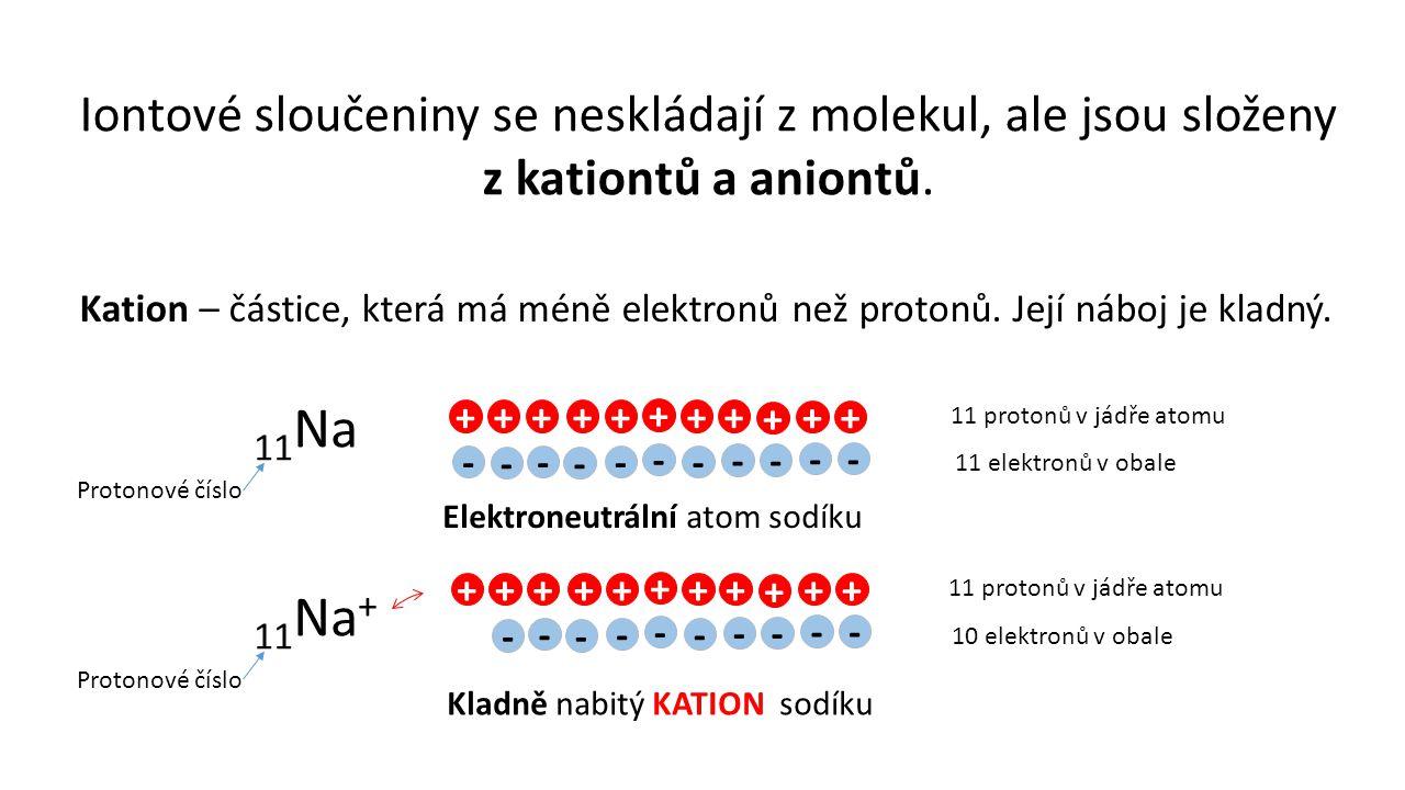 Iontové sloučeniny se neskládají z molekul, ale jsou složeny z kationtů a aniontů.