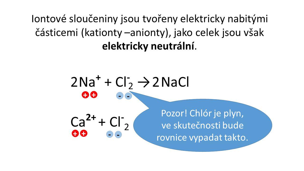 Pozor! Chlór je plyn, ve skutečnosti bude rovnice vypadat takto.
