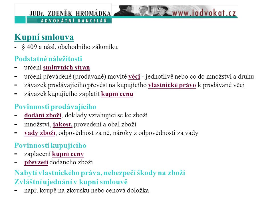 - určení smluvních stran