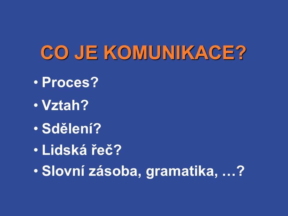 CO JE KOMUNIKACE Proces Vztah Sdělení Lidská řeč