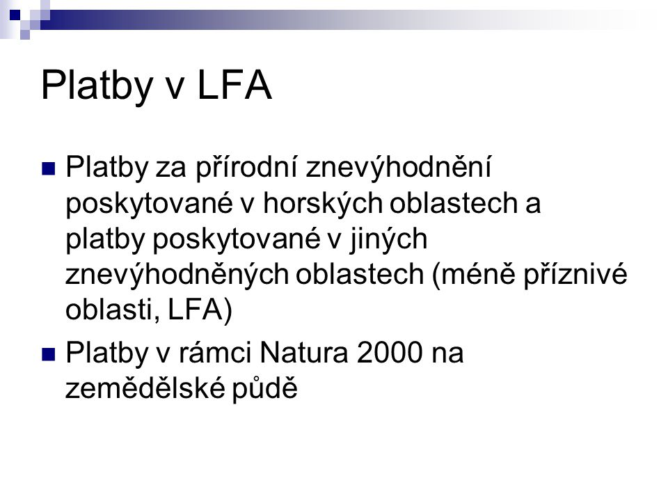 Platby v LFA