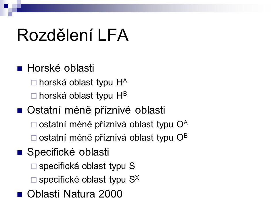 Rozdělení LFA Horské oblasti Ostatní méně příznivé oblasti