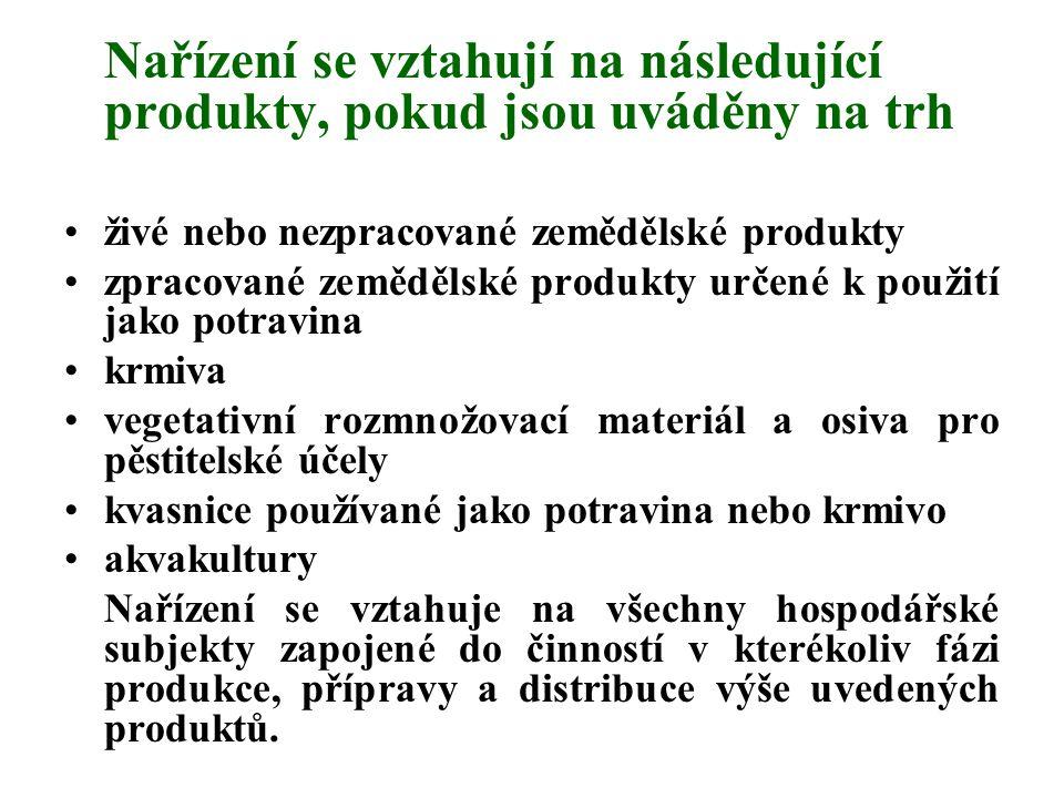 Nařízení se vztahují na následující produkty, pokud jsou uváděny na trh