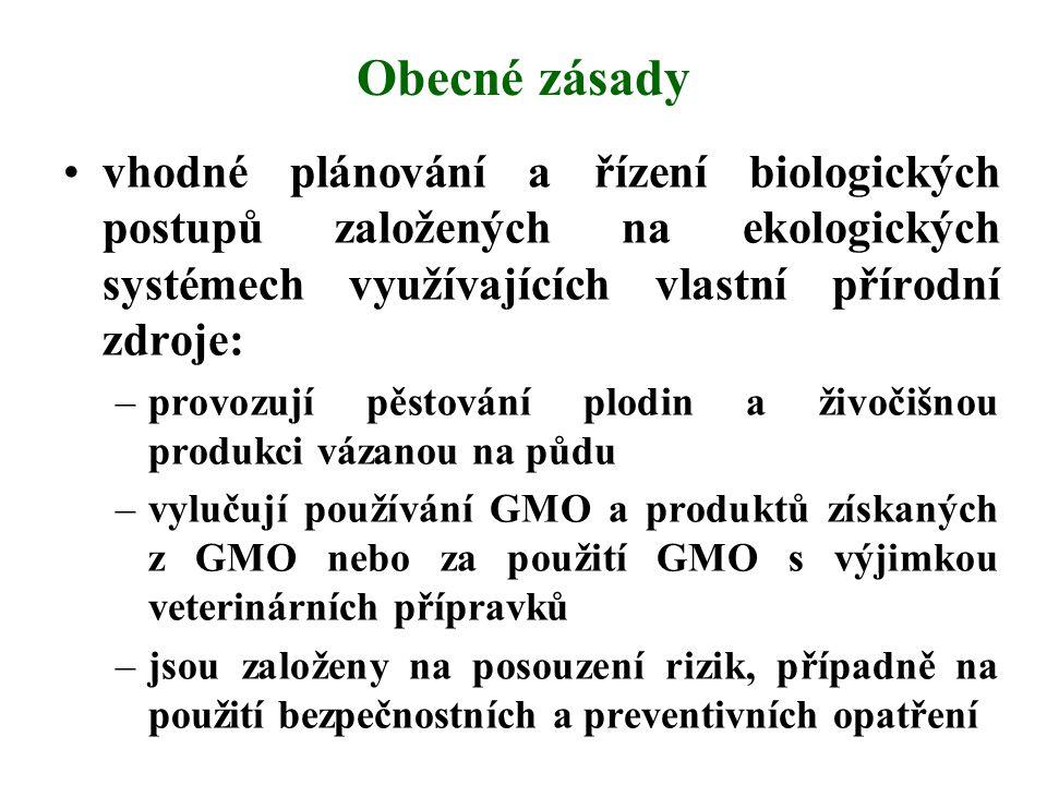 Obecné zásady vhodné plánování a řízení biologických postupů založených na ekologických systémech využívajících vlastní přírodní zdroje:
