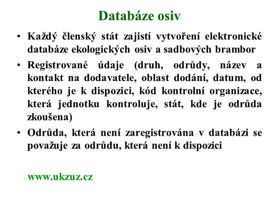Databáze osiv Každý členský stát zajistí vytvoření elektronické databáze ekologických osiv a sadbových brambor.