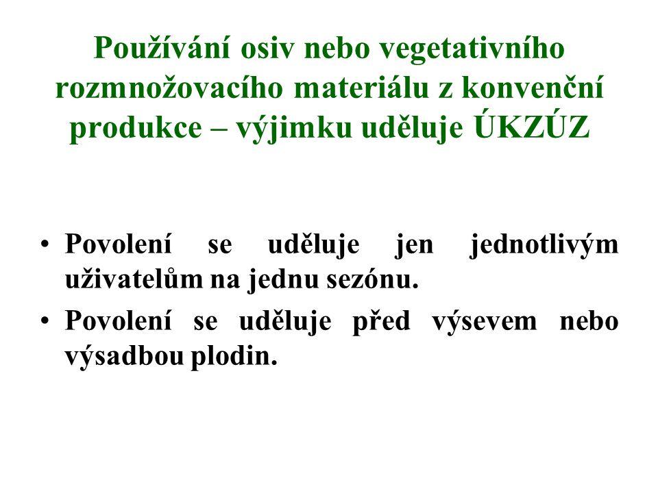 Používání osiv nebo vegetativního rozmnožovacího materiálu z konvenční produkce – výjimku uděluje ÚKZÚZ