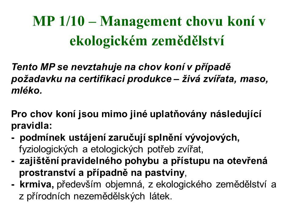 MP 1/10 – Management chovu koní v ekologickém zemědělství