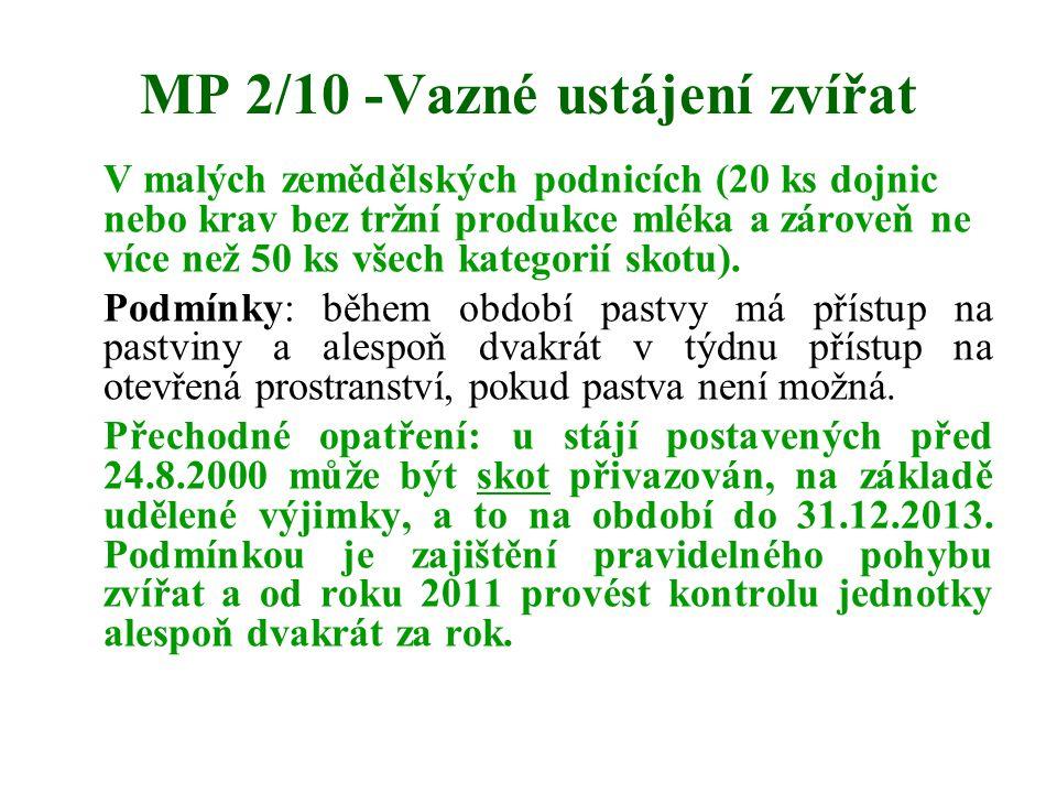 MP 2/10 -Vazné ustájení zvířat