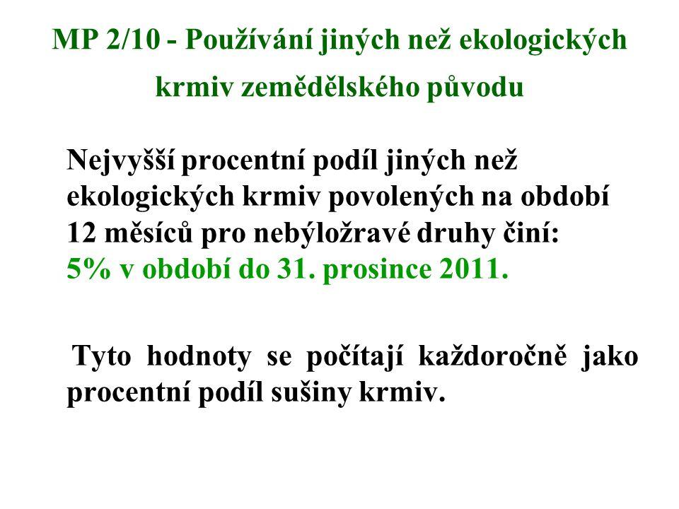 MP 2/10 - Používání jiných než ekologických krmiv zemědělského původu