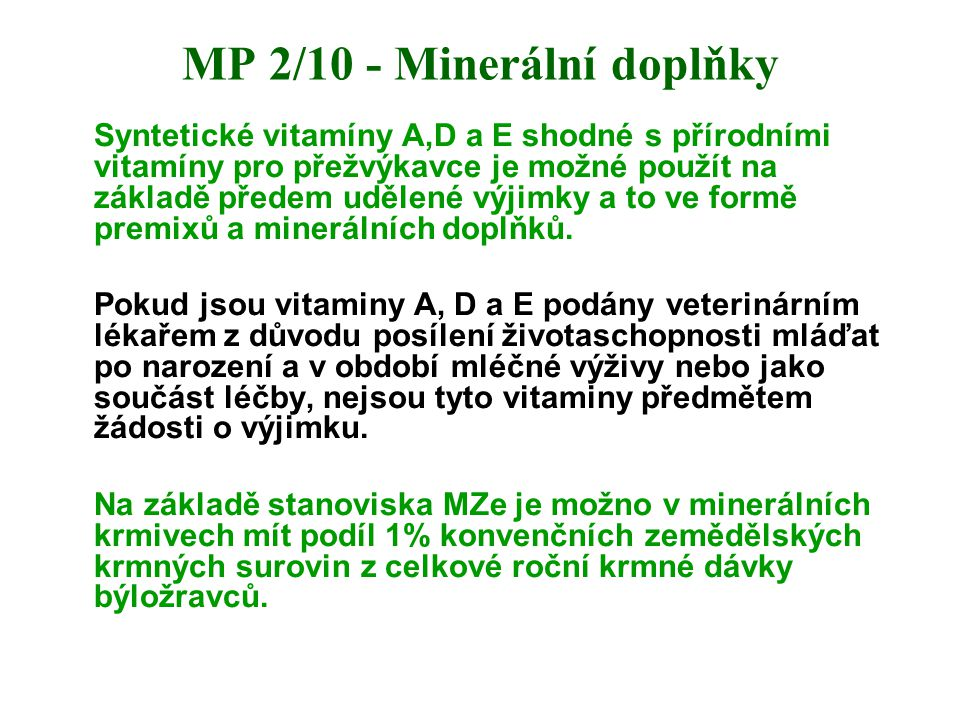 MP 2/10 - Minerální doplňky