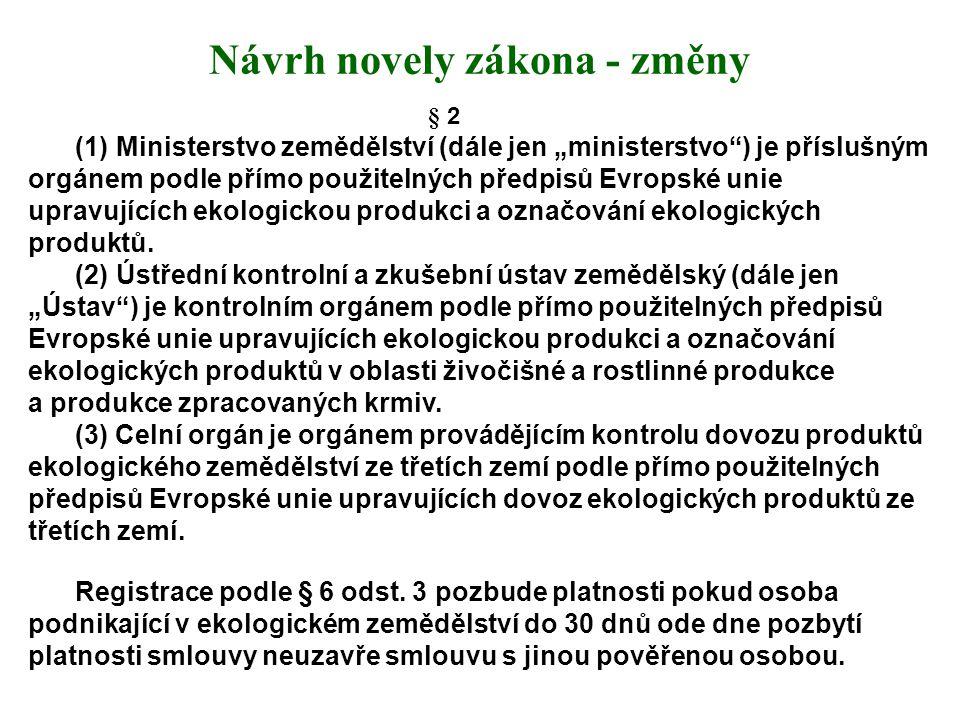 Návrh novely zákona - změny