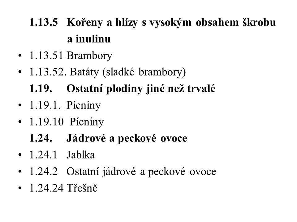 1.13.5 Kořeny a hlízy s vysokým obsahem škrobu