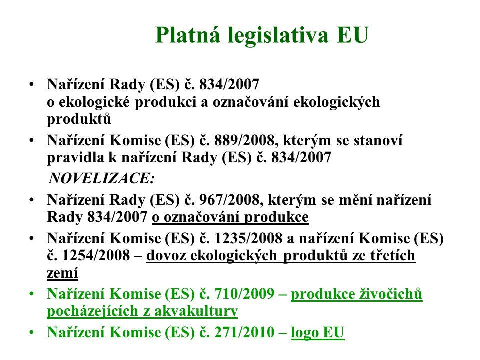 Platná legislativa EU Nařízení Rady (ES) č. 834/2007 o ekologické produkci a označování ekologických produktů.