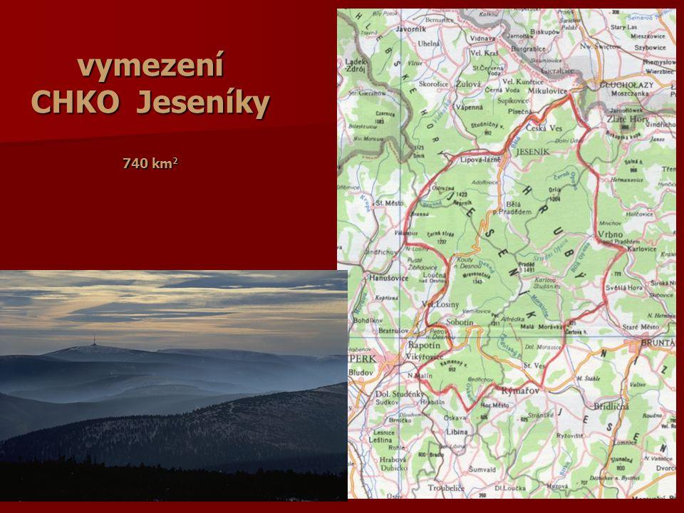 vymezení CHKO Jeseníky 740 km2