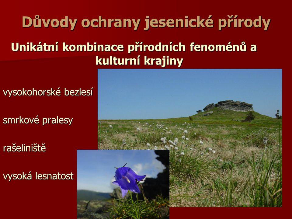 Důvody ochrany jesenické přírody