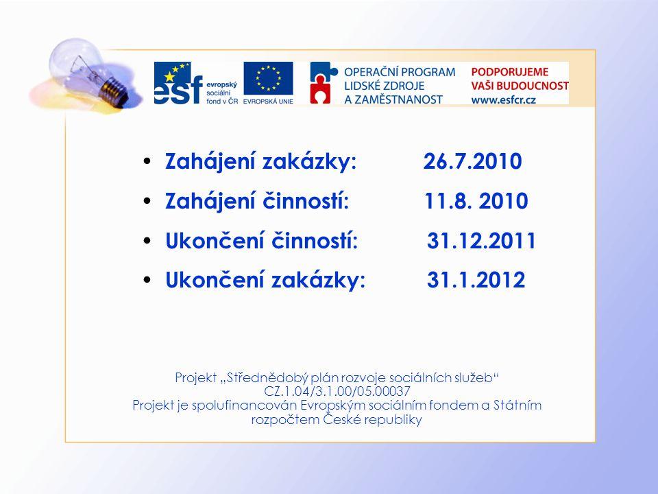 Zahájení zakázky: 26.7.2010 Zahájení činností: 11.8. 2010