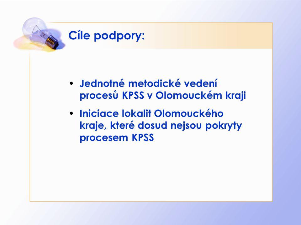 Cíle podpory: Jednotné metodické vedení procesů KPSS v Olomouckém kraji.