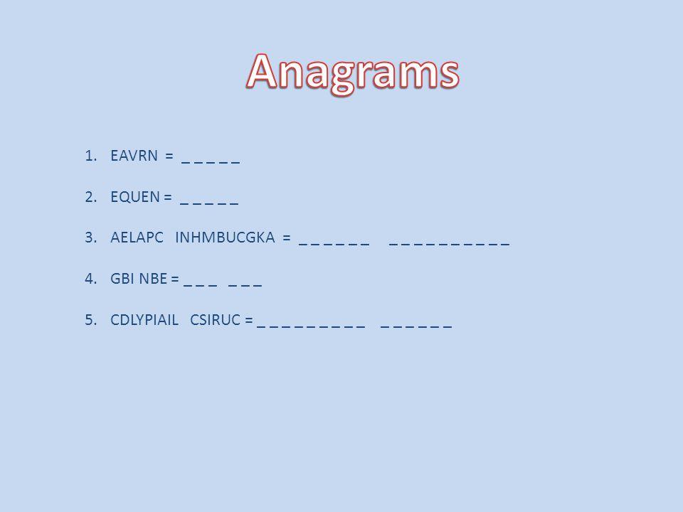 Anagrams EAVRN = _ _ _ _ _ EQUEN = _ _ _ _ _