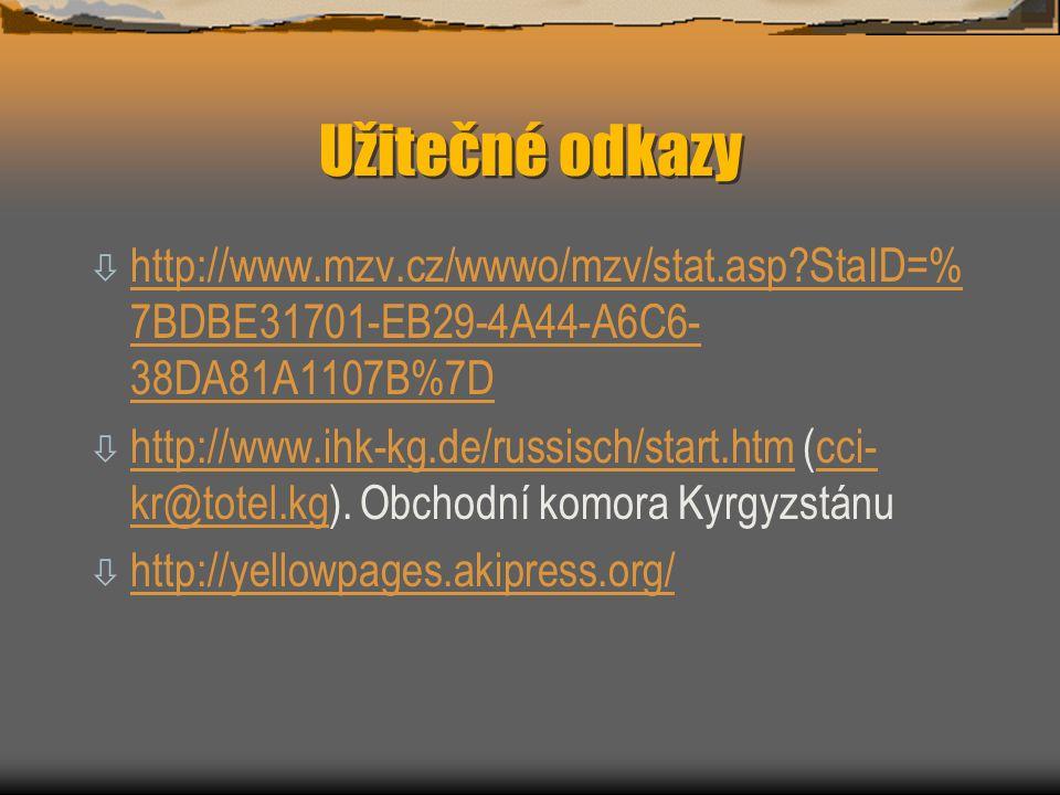 Užitečné odkazy http://www.mzv.cz/wwwo/mzv/stat.asp StaID=%7BDBE31701-EB29-4A44-A6C6-38DA81A1107B%7D.