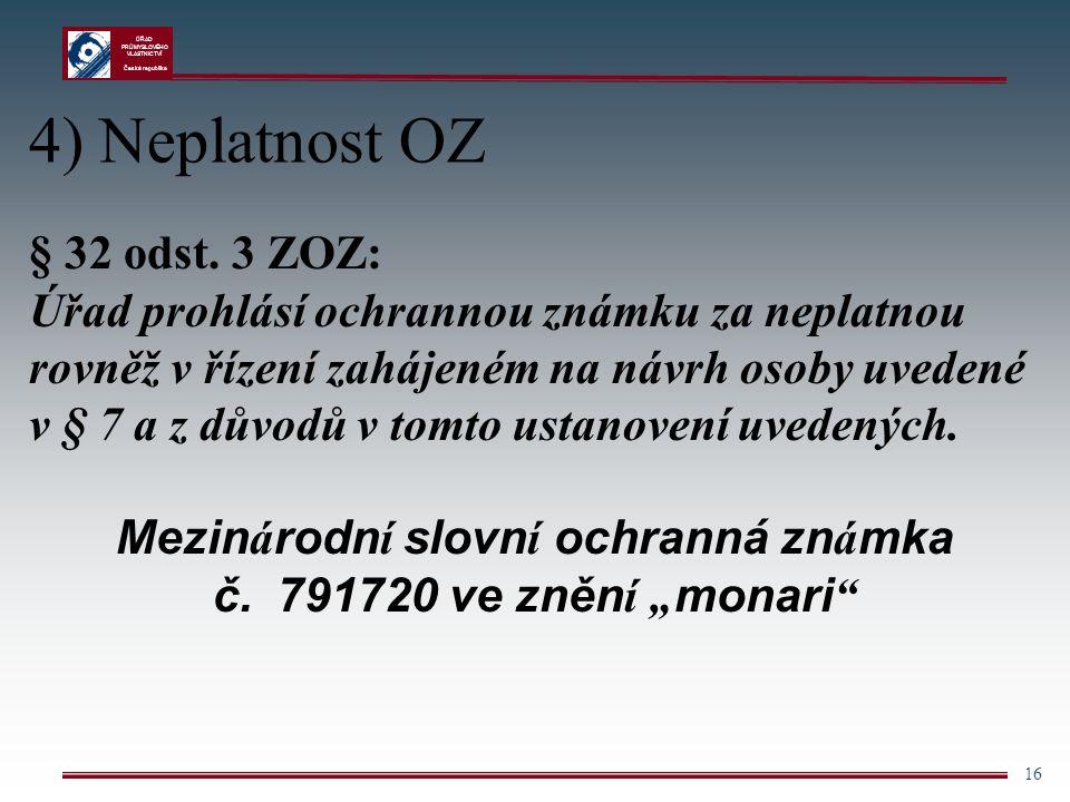 """Mezinárodní slovní ochranná známka č. 791720 ve znění """"monari"""