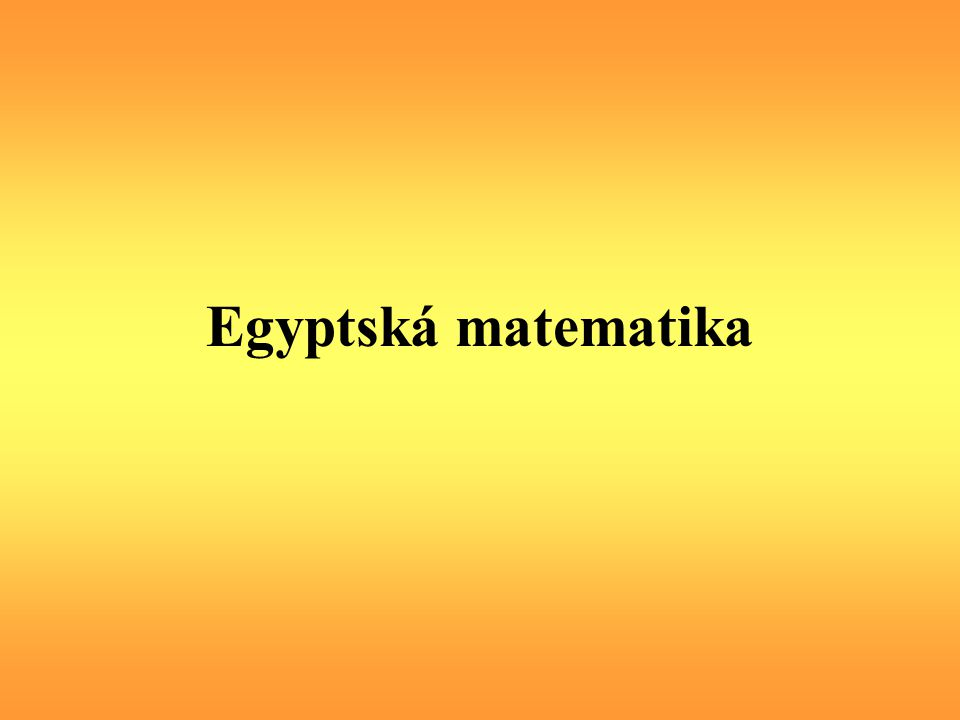 Egyptská matematika